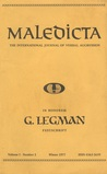 Maledicta: The International Journal Of Verbal Aggression, G. Legman Festschrift (Volume 1, Number 2, Winter 1977)