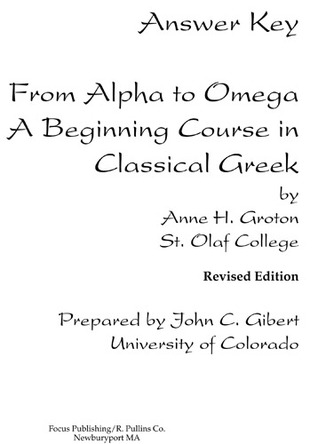 Answer Key from Alpha to Omega