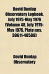 David Dunlap Observatory Logbook, July 1975-May 1976 (Volume 48, July 1975-May 1976, Plate Nos. 39611-40589)