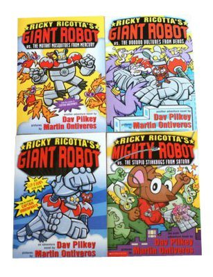 Dav Pilkey's Ricky Ricotta's Giant Robot Set (Giant Robot, the Mutant Mosquitoes from Mercury, The Voodoo Vultures from Venus, Mighty Robot vs The Stupid Stinkbugs from Saturn) (Giant Robot)