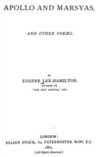Apollo And Marsyas, and Other Poems