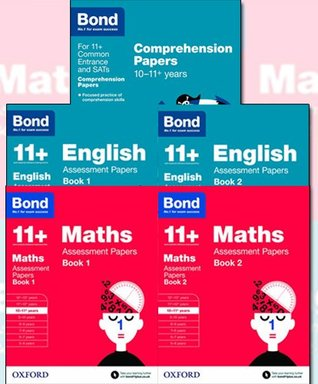Bond 11+ plus English and Maths Assessment Papers for 10-11+ years (Book 1 to 2 ) and English Comprehension Papers 5 Children's Learning Books Bundle Collection (Oxford)