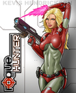 This is the cover illustration for the science fiction novel Rogue Hunter.