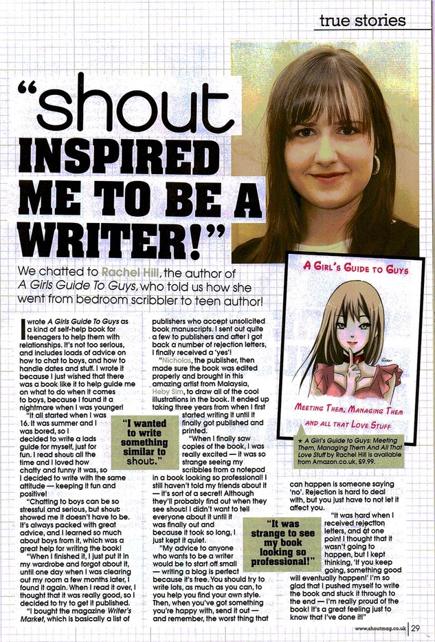 Shout Magazine write up on Rachel Hill