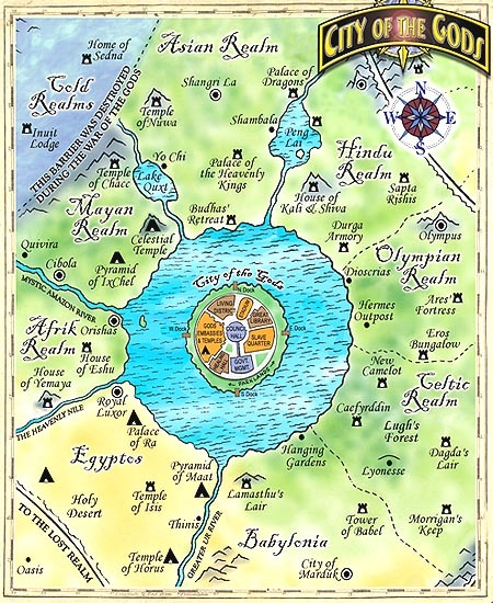 Here is a map of the Inner Realms of the Gods.  The City is on the Central Island. The book has 90 illustrations ans is over 400 pages long.