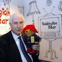 Michael Bond with Paddington Bear toy
