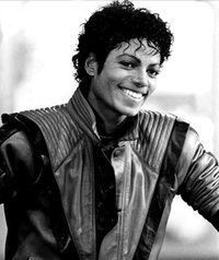 A black and white portrait of Michael Jackson