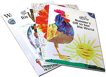 Eric Carle 5 Book Set: Roosters Off to See the World;  Walter the Baker;  A House for Hermit Crab;  The Tiny Seed,  Have You Seen My Cat?
