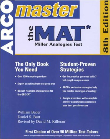 ARCO Master The Mat: Miller Analogies Test by William Bader ...