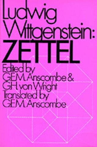 Zettel by Ludwig Wittgenstein