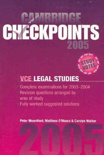 Cambridge Checkpoints Vce Legal Studies 2005