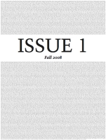 ISSUE ONE by Erica T. Carter