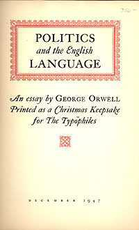 politics and the english language by george orwell 6324725
