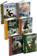 Adventure Books Set: Around the World in 80 Days, Gulliver's Travels, Huckleberry Finn, Robin Hood, The Swiss Family Robinson, Tom Sawyer
