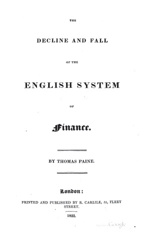 The Decline & Fall of the English System of Finance