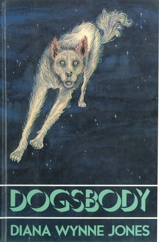 large white dog, somewhat wolflike or wolf-hound-like, in the night sky