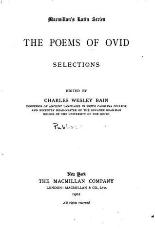 The Poems of Ovid: Selections