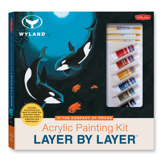 Acrylic Painting Kit Layer by Layer: In the Company of Orcas: This unique method of instruction isolates each layer of the painting, ensuring successful results.