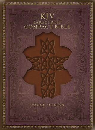 KJV Large Print Compact Bible, Brown Celtic Cross LeatherTouch