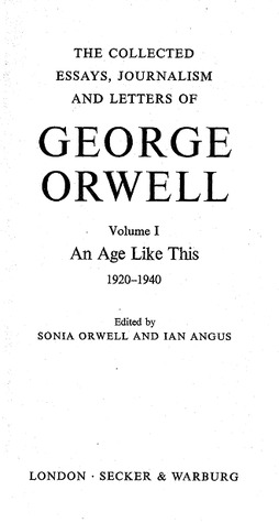 an age like this by george orwell