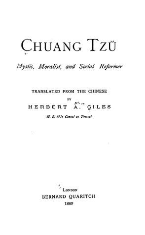 Chuang Tzŭ: Mystic, Moralist, and Social Reformer