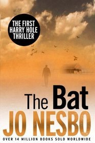 The book cover for The Bat, shows a man walking through a sepia-toned fog towards a derelict building. Birds are circling in the sky above him.