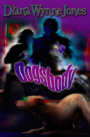 purple/green colour palette, font-effect title, dog running in the foreground, two shadowy/glowing figures in the background
