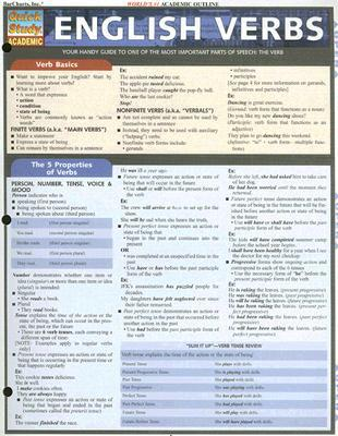 English Verbs Quick Reference Guide (Quick Study Academic)