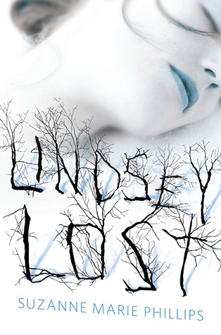 Book cover: the title looks like the leafless branches of trees; a girl's face is seen with blue lips and eyes closed