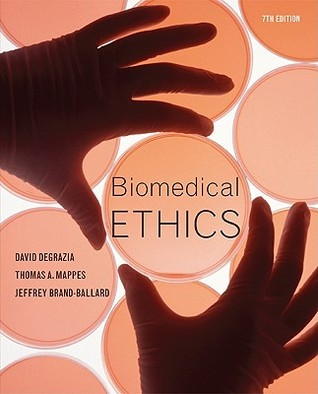A photo of the cover page of a book on Biomedical Ethics by David, Thomas and Jeffrey.