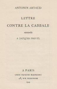 Lettre contre la cabbale adressée à Jacques Prevel