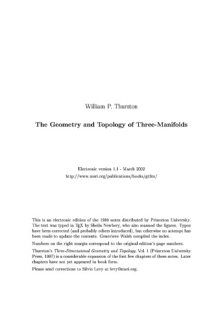 The Geometry and Topology of Three-Manifolds