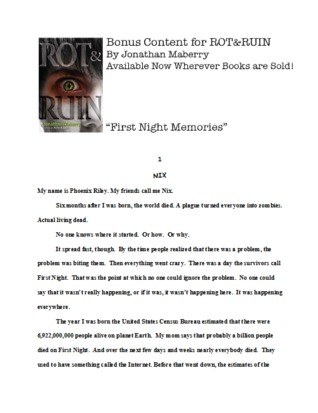 First Night Memories (Rot & Ruin, #0.5)