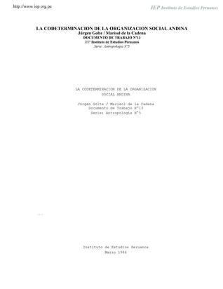 La codeterminación de la organización social andina