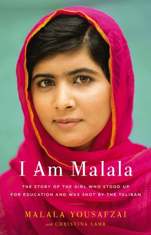 Book cover: Malala Yousafzai wears a magenta hijab and looks at the camera with an expression that is peaceful and resolute