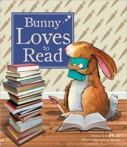 """picture of the cover of a book. Book's title is """"Bunny loves to read"""" by Peter Bently,  Deborah Melmon (Illustrator). The image on the book is of an illustrated, tan colored bunny hugging a book."""