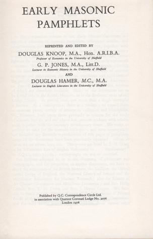 Early Masonic Pamphlets