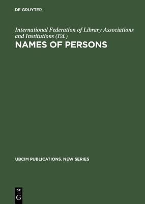 Names of Persons: National Usages for Entry in Catalogues