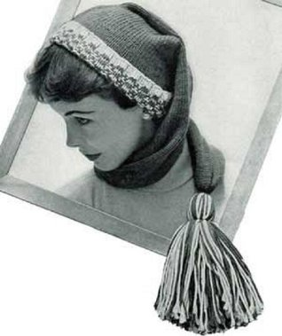 KNITTED WRAP-AROUND STOCKING CAP SCARF with LARGE TASSEL POM-POM - A Vintage Downloadable Knitting Pattern for the KINDLE Wireless eBook Reader! (download ... teen yarn craft winter accessories pom-pom