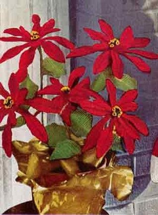 POINSETTIA PLANT Crochet Pattern - Vintage 1951 Pattern - Downloadable Ebook