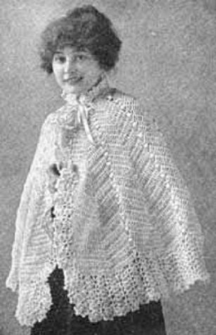 DELICATE CROCHETED WOOLEN CAPE - A Vintage 1916 Crochet Pattern (ePattern) - Instant Download Ebook - AVAILABLE FOR DOWNLOAD to Kindle DX, Kindle for PC, ... antique, ladies, yarn, craft, women, girl)