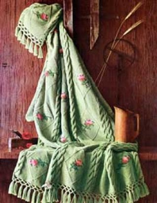 Knitting Pattern: KNITTED ROSEBUD AFGHAN - A Downloadable Vintage Pattern (ePattern) - AVAILABLE FOR DOWNLOAD to Kindle DX, Kindle for PC, Mac, iPhone, ... idea, pdf, ebook, book, blanket, crafts)