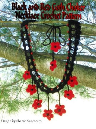 Black and Red Goth Choker Necklace Crochet Pattern