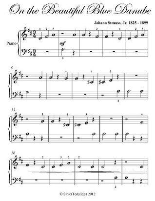 On the Beautiful Blue Danube Strauss Beginner Piano Sheet Music