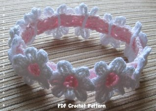 Crochet Pattern for a Baby Girl Headband with White Daisies