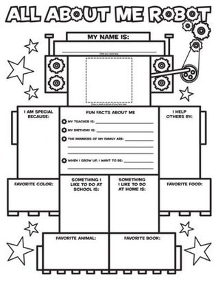 Graphic Organizer Posters: All-About-Me Robot (Grades K-2): 30 Fill-in Personal Posters for Kids to Display with Pride