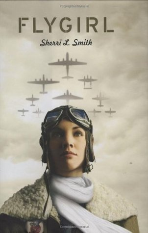 Book cover: against the backdrop of a cloudy sky with planes overhead, a young woman in pilot garb faces forward with her eyes looking skyward