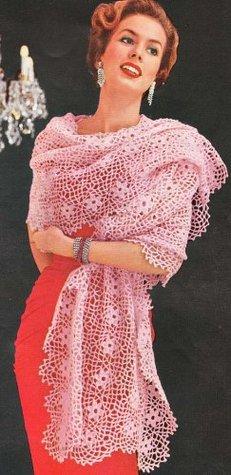Loretta Flower Motif Stole Shawl Wrap Vintage Crochet Pattern Download