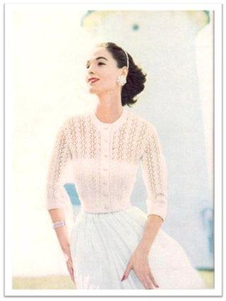 #2378 Lace Pattern Cardigan Blouse Vintage Knitting Pattern