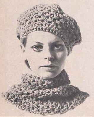 Beret & Smoke Ring Scarf Crochet Pattern Tam Hat EBook Download